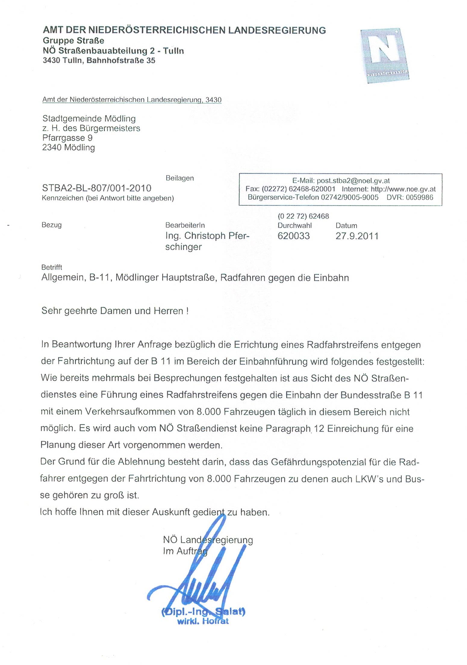 """Antwort der landesstraßenverwaltung zur Frage, ob ein Radweg """"geht""""..."""