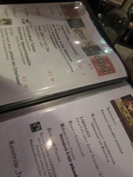 Ein Blick auf die Speisekarte am Mödlinger Kobenzl