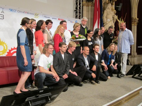 Das Team der Wiener Radkonferenz: hinter Mary der - große - Konferenzdirektor Wolfgang Dvorak.
